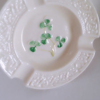 Belleek Ireland Shamrock Clover Porcelain Ash Tray 3rd Generation Green Mark Mid-Century