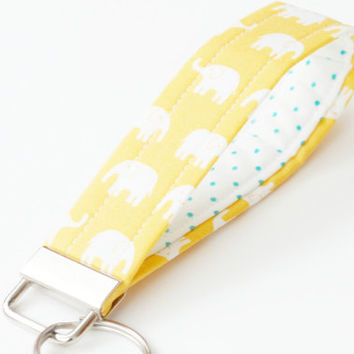 Wristlet Keychain, Key Fob,  White Elephants on Sunny Yellow Fabric
