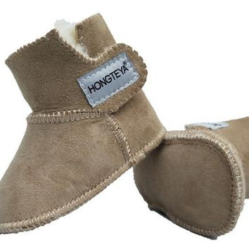 New Baby Shoes 100% PURE Australian Sheepskin Handmade Baby Bootie Suede Winter Super Warm With fur Baby Boys Girls Boots