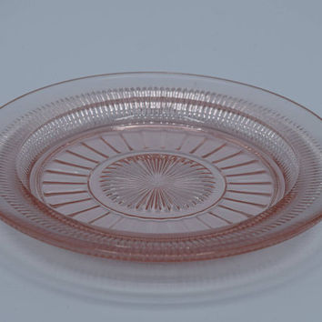 Anchor Hocking Coronation Pink Depression Glass Dessert Plate Vintage Pink Small Glass Plate Salad Bread Butter Shabby Chic Dish 1930's