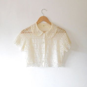 Cream lace cropped blouse / pearl / studded / vintage / 1960s / antique cream / floral / panel / round collar / sheer / cropped button top
