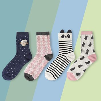 Foot 22-25cm Bunny Socks Rabbit Owl Polka Dot Animals Zoo Yellow Duck Spotty Dog Cookie Purl OVO Fluff Fluffy Panda Bear Cat Paw