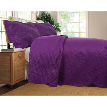 Midnight Vineyard Solid Purple Thin & Lightweight Quilted Coverlet Bedspread Set (LH188)