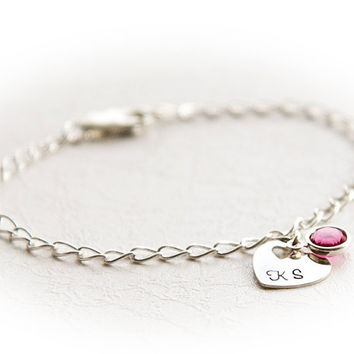 Girl's Personalized Bracelet -  Hand Stamped Charm Bracelet - Jewelry for Girls