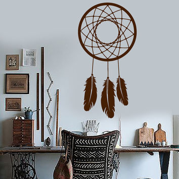 Vinyl Wall Decal Dream Catcher Feathers Bedroom Decoration Stickers Mural (ig3106)