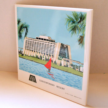 VINTAGE MCM ARCHITECTURE Tile Mid Century Modern Contemporary Resort Ceramic Wall Plaque