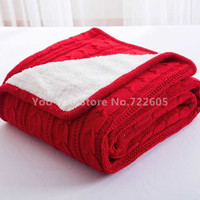 Knitted Blanket / Cotton Knitted Throw with Lininng Super Soft Warm Blanket Cover Double Cable Knit