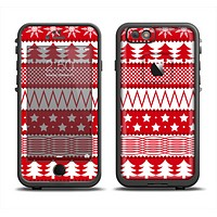 The Red and White Christmas Pattern Apple iPhone 6 LifeProof Fre Case Skin Set