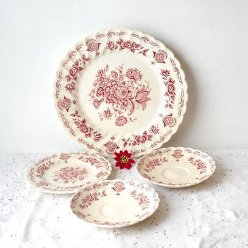 ON SALE - Myotts Pink Bouquet Plates, Lot of 4 Pieces, Red Transferware, Staffordshire England, Vintage Kitchen Decor