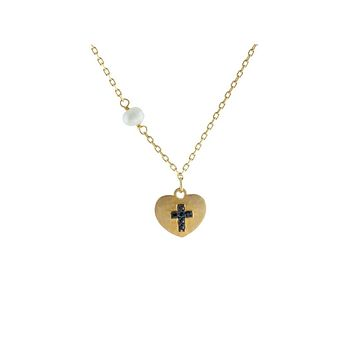 14k Gold Plated Silver Satin Heart w/ engraved Black Cross & Dangling Pearl Necklace, 15.5""