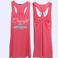 Crossfit for Cupcakes glitter print workout fitness tank topwith bow PK_416