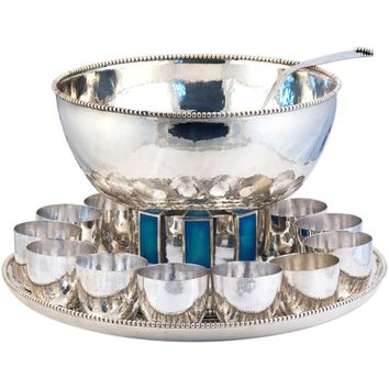 CARTIER ONC 1 of 10 Punch Bowl Set Sterling Silver w/ 12 Cups Enamelled 1969