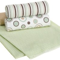 Carters Wrap Me Up Receiving Blanket, Brown/Sage Circles, 4 Pack $16.99