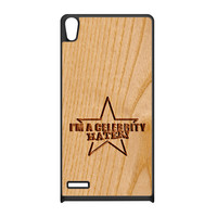 Carved on Wood Effect_Celebrity Hater Black Silicon Rubber Case for Huawei P6 by Chargrilled