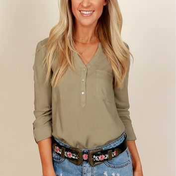 She's So Classic Blouse Olive