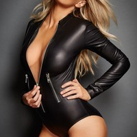 Black Leather Long Sleeve Zip Bodysuit