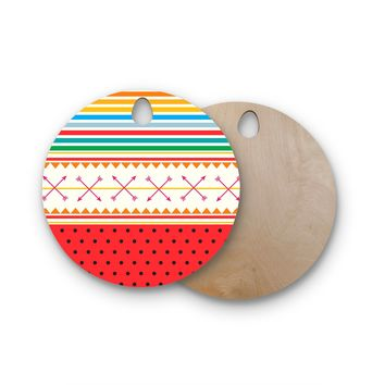 """Famenxt """"Watermelon Arrows and Colors"""" Round Wooden Cutting Board"""