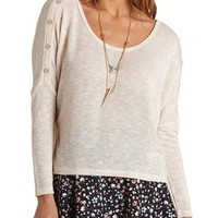BUTTON-EMBELLISHED CROPPED DOLMAN TOP