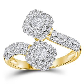 14kt Yellow Gold Womens Princess Diamond 2-stone Hearts Together Bridal Wedding Engagement Ring 2.00 Cttw (Certified)