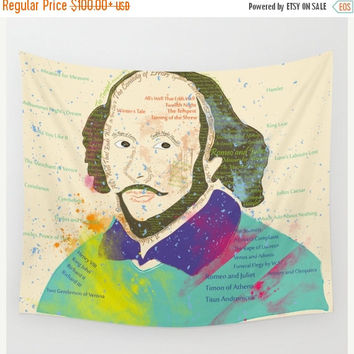 SALE FLAT 20% OFF Wall tapestry, hippie tapestry, Shakespeare decor, William Shakespeare tapestry, typography decor, wall hanging, literatur