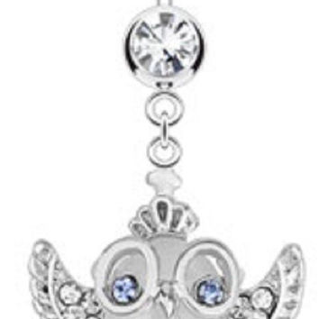 Belly Button Ring Cats Eye Owl Gem Wings Glasses Crown Dangle Surgical Steel