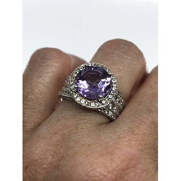 Vintage Handmade Genuine purple Amethyst Filigree setting 925 Sterling Silver gothic can be resized
