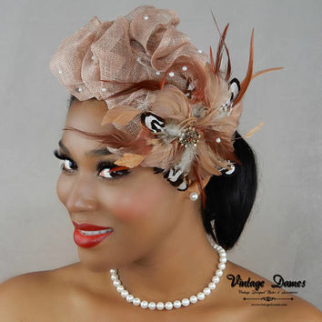 Brown Feather Hair Fascinator, Birdcage Veil Cap, Women's Feather Hat, Designer Gift Idea, Latte Sinamay and Feathers Calot, Juliet Cap,
