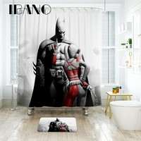 IBANO Marvel Batman Shower Curtain Waterproof Polyester Fabric Bath Curtain For The Bathroom With 12 pcs Plastic Hooks Floor Mat