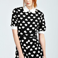 Tia Heart Print and Collar Half Sleeve Playsuit