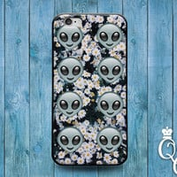 iPhone 4 4s 5 5s 5c 6 6s plus + iPod Touch 4th 5th 6th Generation Cute Alien Emoji Daisy Flower Space Nerd Dork Funny Phone Case Cool Cover