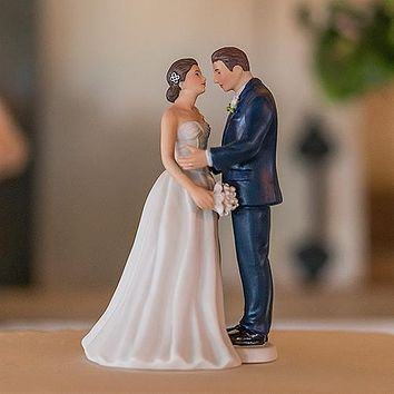 Contemporary Vintage Bride and Groom Porcelain Figurine Wedding Cake Topper Groom in Navy Blue Suit (Pack of 1)