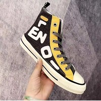 FENDI Newest Fashion Women Canvas High Tops Flats Sneakers Sport Shoes Beige Black