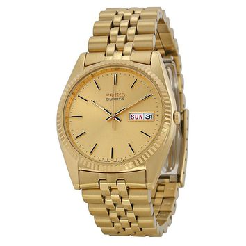 Seiko Day and Date Dress Gold-tone Stainless Steel Mens Watch SGF206