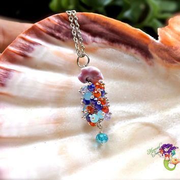 Jellyfish Jewelry Seashell Necklace made in Hawaii by Mermaid Tears North Shore Oahu Artist