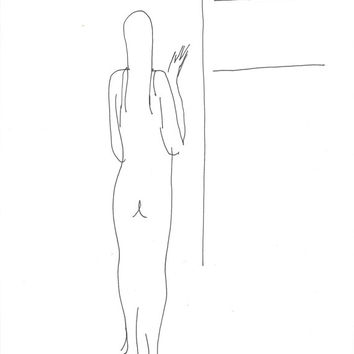 NUDE in the DRESSING ROOM sketch study minimalist ink drawing beautiful women posing portrait original art unique gift wife husband friend