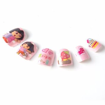 Cute Girls Cakes Children Fake Nails 12 Sizes 24 Pcs Pink Pre-glue Press on Fake Nail Tips for Little Girls 2 Styles