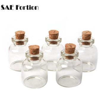SAE Fortion 5pcs/Lot 22x28mm Tiny Small Clear Cork Glass Bottles Vials 4 ml Jar Containers For Wedding Holiday Decoration MD686