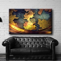 "Large Size 26x44"" Box Framed Canvas Print Artwork Stretched Gallery Wrapped Wall Art Painting Hanging Original Decorative Modern Home & Living Decor Map World Old Ocean Mainland Poster West Westeros Gold Room Office Bedroom Like Painting (Canm33)"