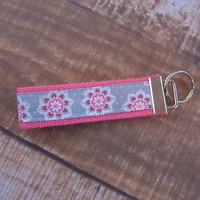 Ready To Ship Pink White Red Gray Flower Key Fob Wristlet Key Chain Fabric Key Chain