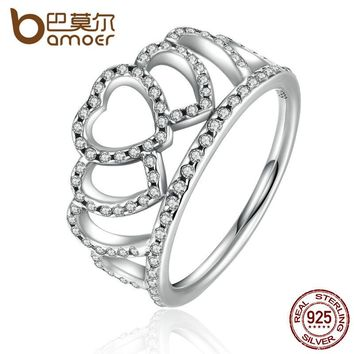 BAMOER 100% 925 Sterling Silver Hearts Tiara, Clear CZ Women Finger Ring Compatible with Original Jewelry PA7194