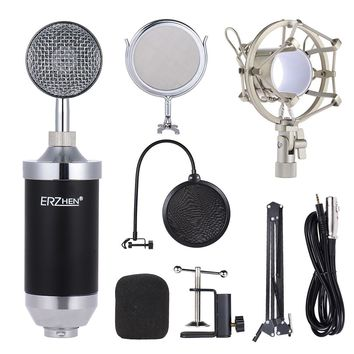 Professional Studio Broadcasting Recording Condenser Microphone Mic Set w/ Shock Mount Adjustable Suspension Scissor Arm Stand