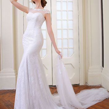 Elegant sexy  Mermaid Wedding dress removable  train and lace back ball gown