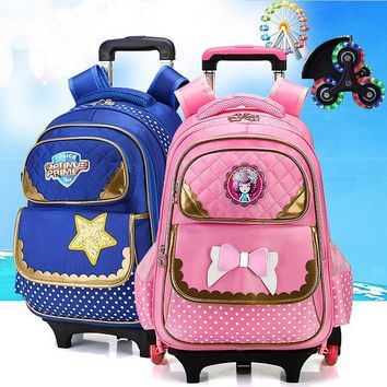 Fashion flash 2/6 Wheels Girls Waterproof School Bag Boy Backpack Trolley Bag Children School Bags Kids Wheeled Bags Backpack