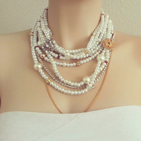 Chunky Layered Bridal Rhinestone Necklace - Wedding Necklace Gold Silver - Red Blue Crystals