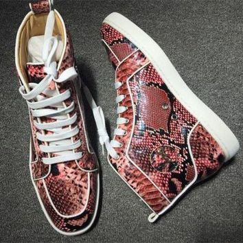 DCCK Cl Christian Louboutin Python Style #2260 Sneakers Fashion Shoes