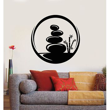 Vinyl Wall Decal Spa Centre Circle Stones Health Natural Beauty Stickers Mural (g1009)