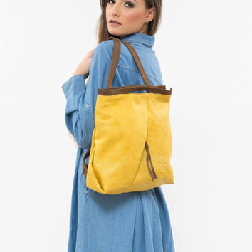 Yellow backpack, Yellow canvas backpack, Waxed canvas Backpack, yellow bag, Medium backpack, Student backpack