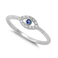 925 Sterling Silver CZ Evil Eye Simulated Sapphire 5MM
