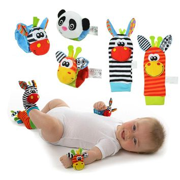 Cartoon Lovely Baby Toys 0-12 Months Baby Soft Plush Animal Foot Sock Wrist Bell Bands Infant Baby Rattles Toy