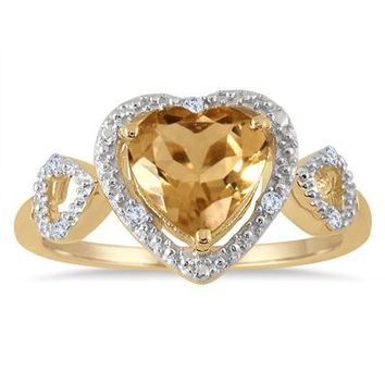 2.00 Carat Citrine and Diamond Double Heart Ring in 18K Yellow Gold Pl